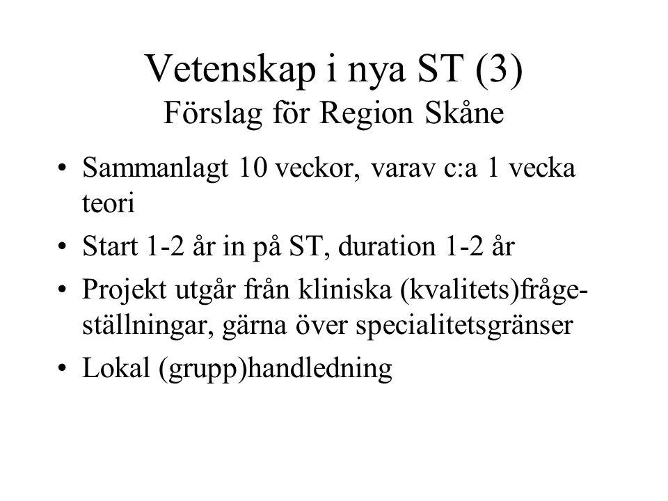 Vetenskap i nya ST (3) Förslag för Region Skåne Sammanlagt 10 veckor, varav c:a 1 vecka teori Start 1-2 år in på ST, duration 1-2 år Projekt utgår frå