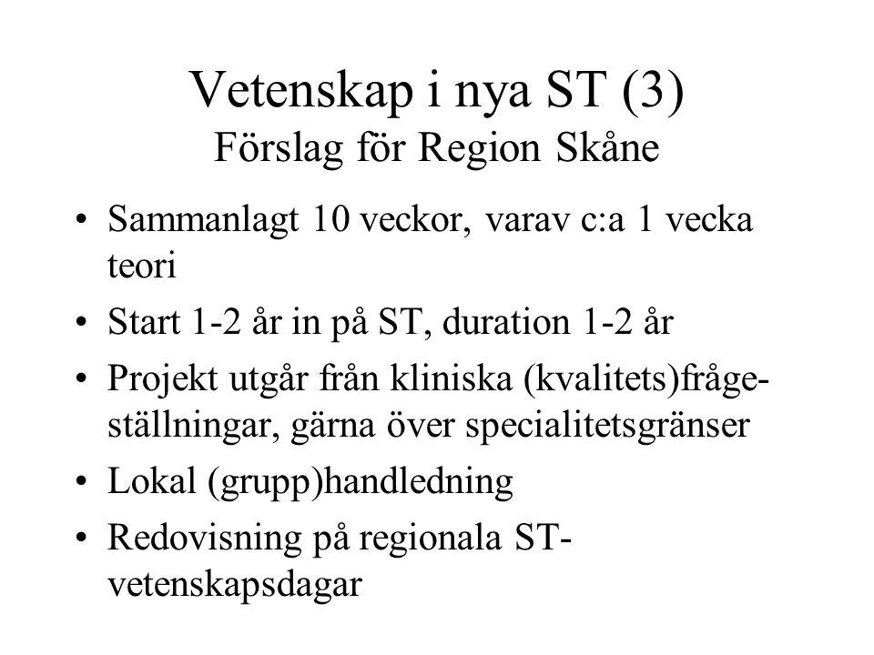 Riktlinjer för Region Skåne Existerande dokument: Kravspecifikation för enheter som utbildar ST-läkare (2005) Region Skånes riktlinjer för ST-utbildning (2006) Ur innehållet: ST-kontrakt, handledare, tid för handledning, studierektor, tid för teoretisk förankring.. , lokala målbeskrivningar, bedömningsmodell, godkännande av varje utbildningsavsnitt, regelbunden SPUR-inspektion...