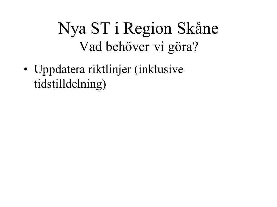 Nya ST i Region Skåne Vad behöver vi göra? Uppdatera riktlinjer (inklusive tidstilldelning)
