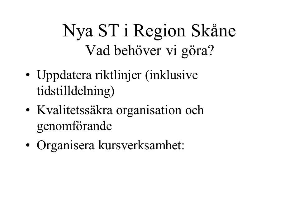 Nya ST i Region Skåne Vad behöver vi göra? Uppdatera riktlinjer (inklusive tidstilldelning) Kvalitetssäkra organisation och genomförande Organisera ku