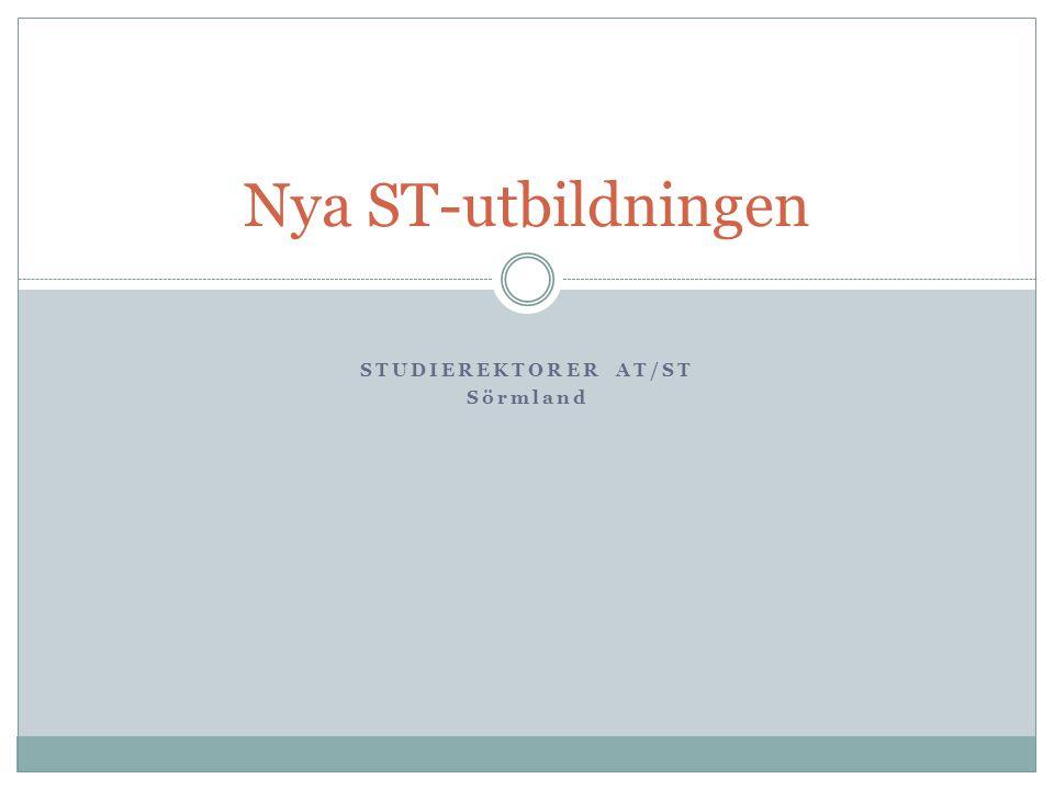 STUDIEREKTORER AT/ST Sörmland Nya ST-utbildningen