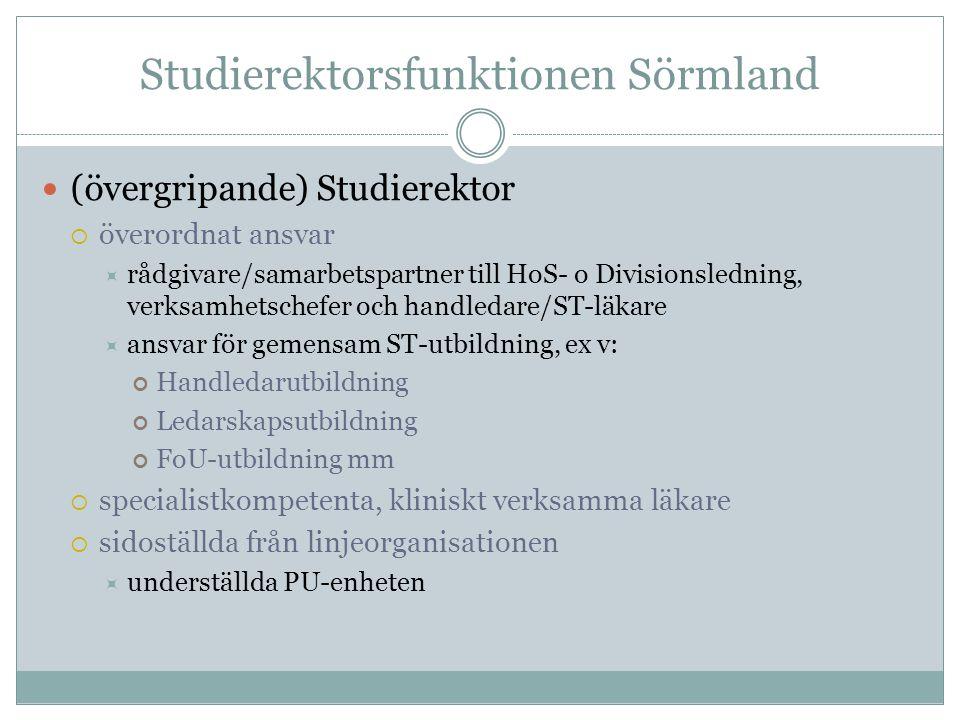 Studierektorsfunktionen Sörmland (övergripande) Studierektor  överordnat ansvar  rådgivare/samarbetspartner till HoS- o Divisionsledning, verksamhet