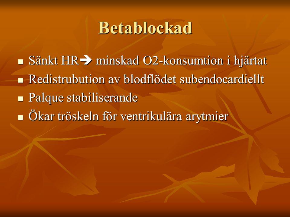 Betablockad Sänkt HR  minskad O2-konsumtion i hjärtat Sänkt HR  minskad O2-konsumtion i hjärtat Redistrubution av blodflödet subendocardiellt Redist