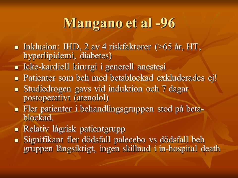 Mangano et al -96 Inklusion: IHD, 2 av 4 riskfaktorer (>65 år, HT, hyperlipidemi, diabetes) Inklusion: IHD, 2 av 4 riskfaktorer (>65 år, HT, hyperlipi