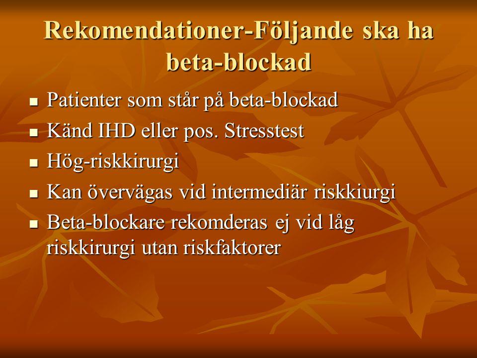 Rekomendationer-Följande ska ha beta-blockad Patienter som står på beta-blockad Patienter som står på beta-blockad Känd IHD eller pos. Stresstest Känd