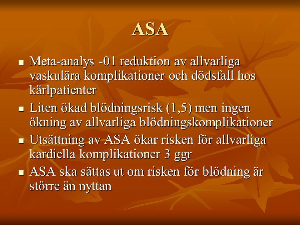 ASA Meta-analys -01 reduktion av allvarliga vaskulära komplikationer och dödsfall hos kärlpatienter Meta-analys -01 reduktion av allvarliga vaskulära