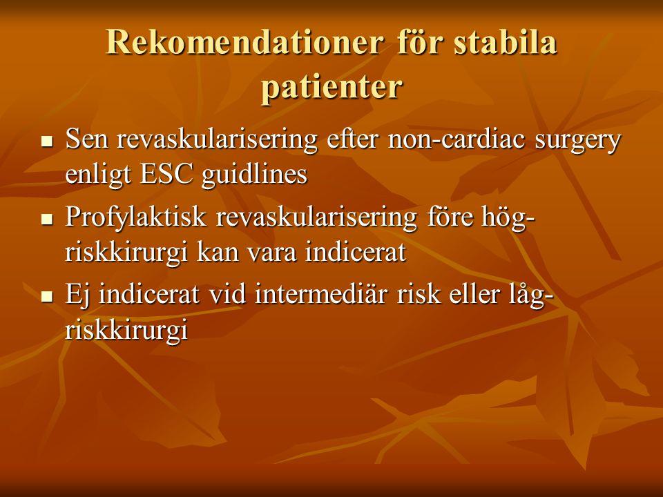 Rekomendationer för stabila patienter Sen revaskularisering efter non-cardiac surgery enligt ESC guidlines Sen revaskularisering efter non-cardiac sur