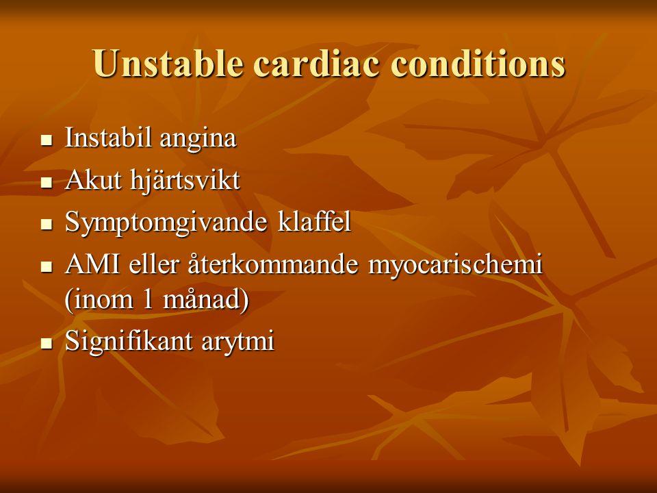 Riskfaktorer Angina Angina Tidigare AMI Tidigare AMI Hjärtsvikt Hjärtsvikt Stroke/TIA Stroke/TIA Njursvikt (s-krea > 170umol/L eller 2 mg/dl eller kreatinin clearance 170umol/L eller 2 mg/dl eller kreatinin clearance < 60 ml/min) Insulinbeh.