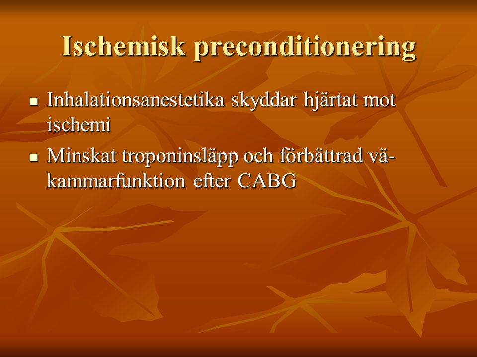 Ischemisk preconditionering Inhalationsanestetika skyddar hjärtat mot ischemi Inhalationsanestetika skyddar hjärtat mot ischemi Minskat troponinsläpp