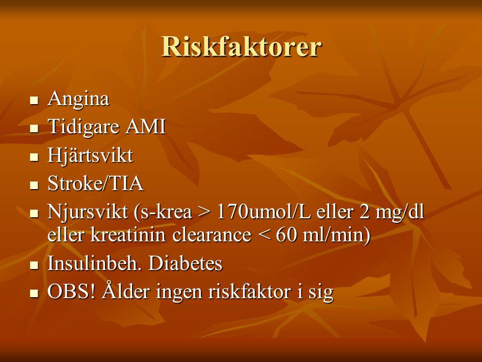Kirurgisk risk Låg risk (<1%) bröst, endokrin, ögon, mindre ortopedi Låg risk (<1%) bröst, endokrin, ögon, mindre ortopedi Intermediär risk (1-5%) bukkirurgi, carotis EVAR, höft/ryggkirurgi Intermediär risk (1-5%) bukkirurgi, carotis EVAR, höft/ryggkirurgi Hög risk (>5%) aortakirurgi, perifer kärlkirurgi Hög risk (>5%) aortakirurgi, perifer kärlkirurgi