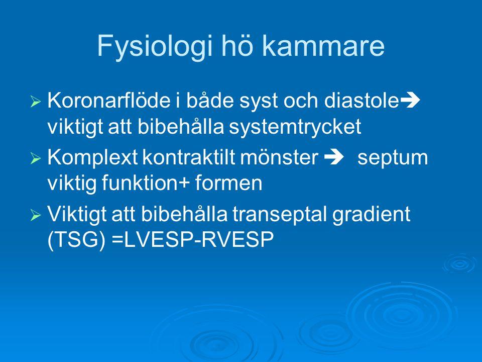 Fysiologi hö kammare   Koronarflöde i både syst och diastole  viktigt att bibehålla systemtrycket   Komplext kontraktilt mönster  septum viktig