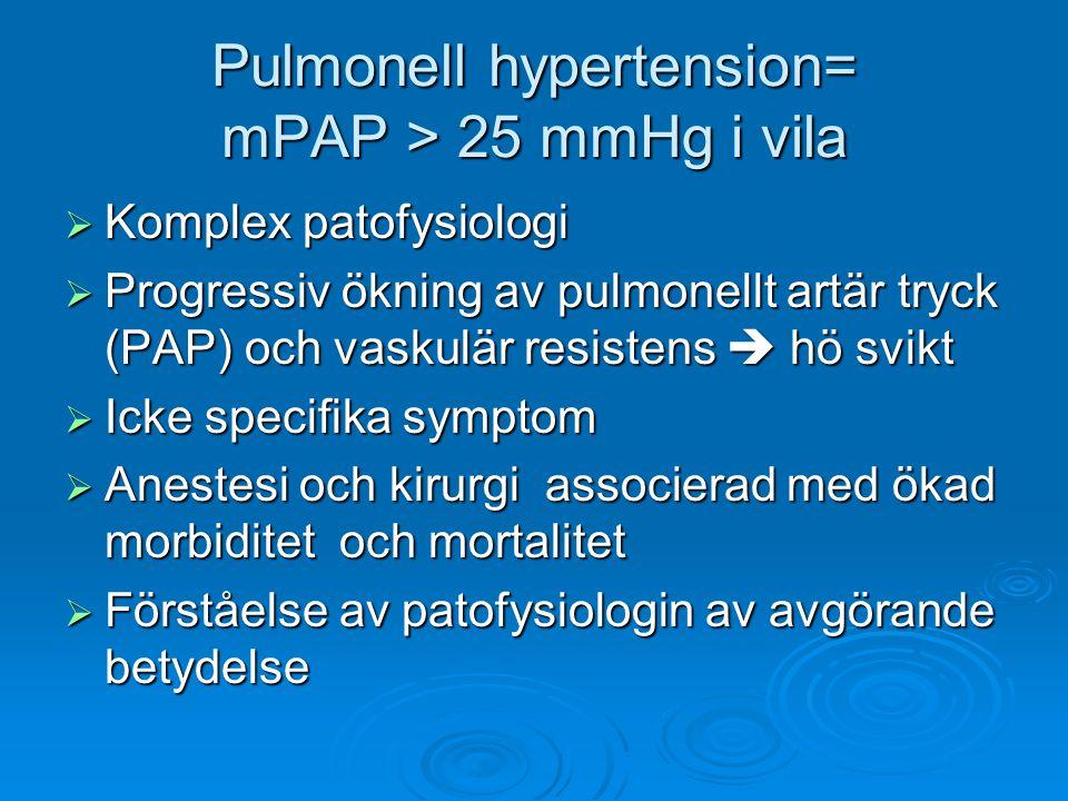 Pulmonell hypertension= mPAP > 25 mmHg i vila  Komplex patofysiologi  Progressiv ökning av pulmonellt artär tryck (PAP) och vaskulär resistens  hö