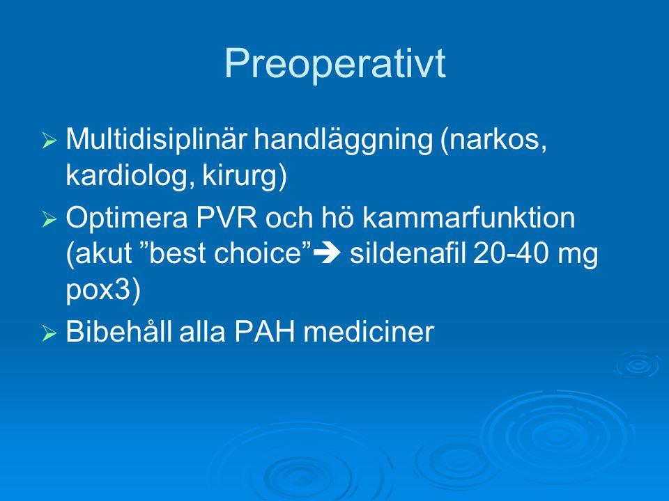 """Preoperativt   Multidisiplinär handläggning (narkos, kardiolog, kirurg)   Optimera PVR och hö kammarfunktion (akut """"best choice""""  sildenafil 20-4"""