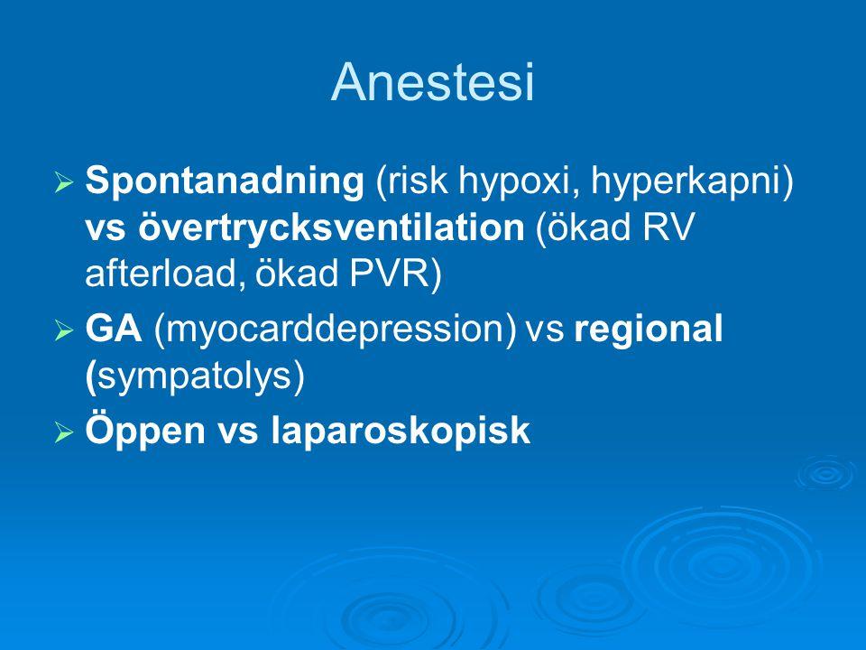 Anestesi   Spontanadning (risk hypoxi, hyperkapni) vs övertrycksventilation (ökad RV afterload, ökad PVR)   GA (myocarddepression) vs regional (sy