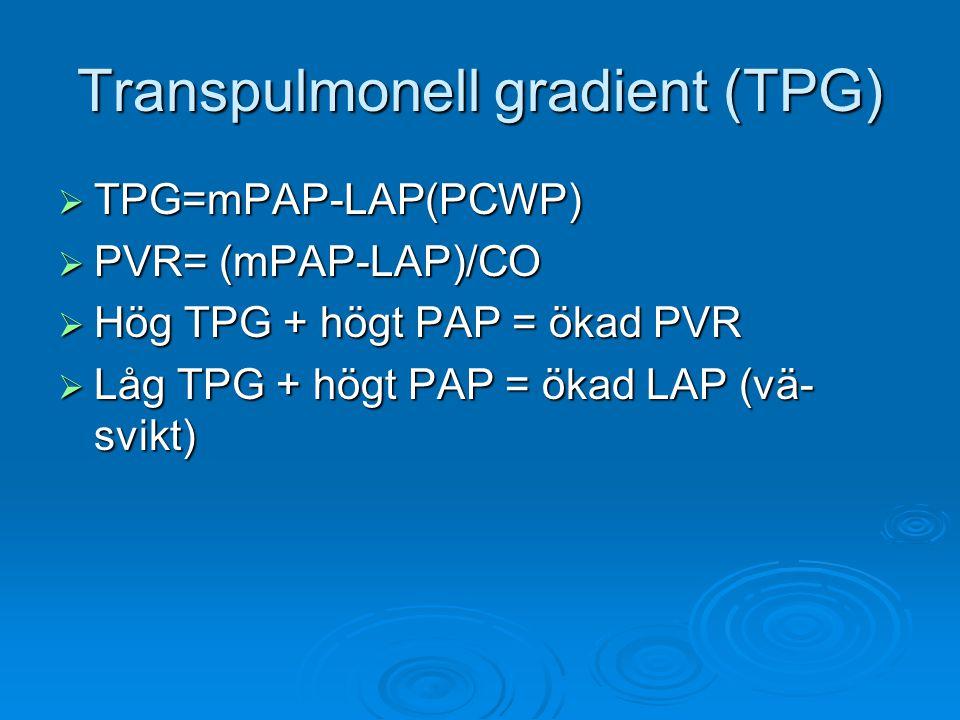 Transpulmonell gradient (TPG)  TPG=mPAP-LAP(PCWP)  PVR= (mPAP-LAP)/CO  Hög TPG + högt PAP = ökad PVR  Låg TPG + högt PAP = ökad LAP (vä- svikt)
