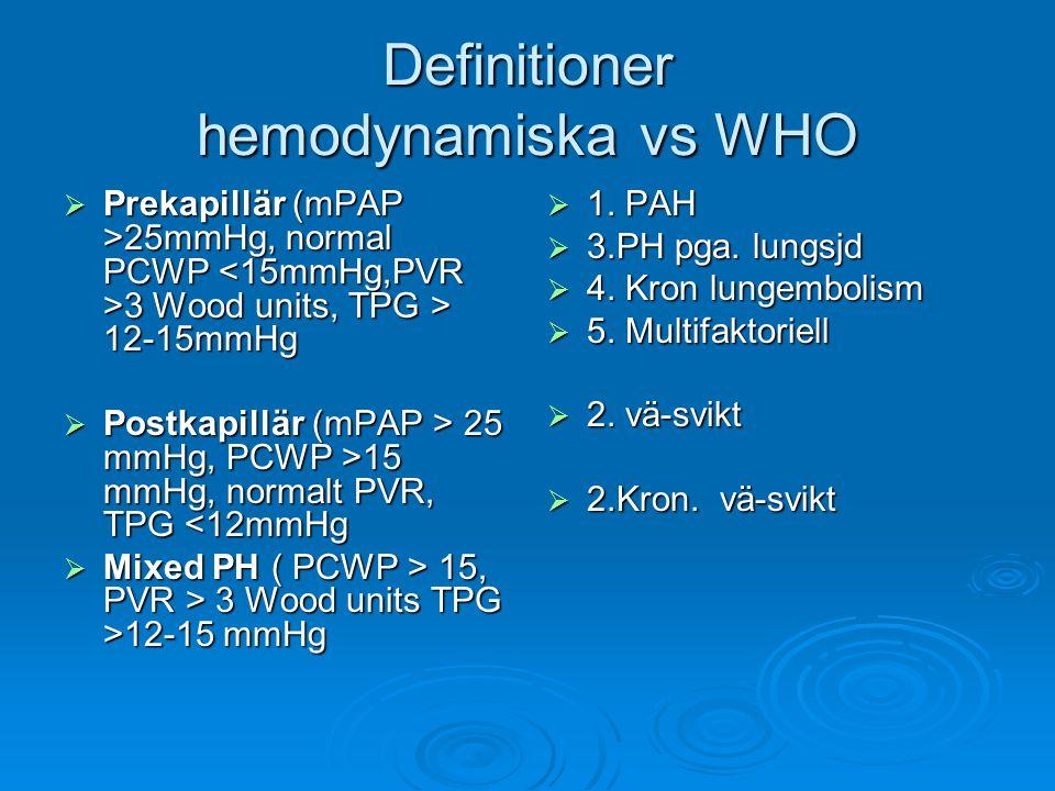 Definitioner hemodynamiska vs WHO  Prekapillär (mPAP >25mmHg, normal PCWP 3 Wood units, TPG > 12-15mmHg  Postkapillär (mPAP > 25 mmHg, PCWP >15 mmHg