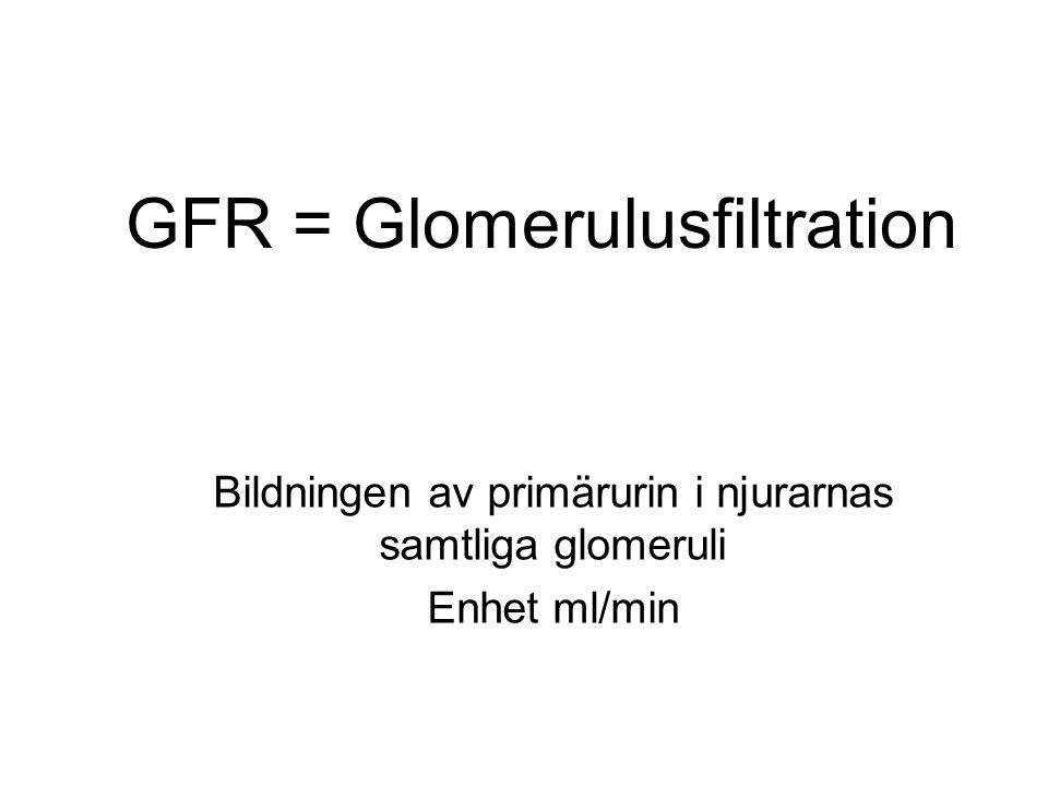 GFR = Glomerulusfiltration Bildningen av primärurin i njurarnas samtliga glomeruli Enhet ml/min