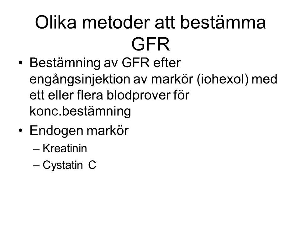 Olika metoder att bestämma GFR Bestämning av GFR efter engångsinjektion av markör (iohexol) med ett eller flera blodprover för konc.bestämning Endogen