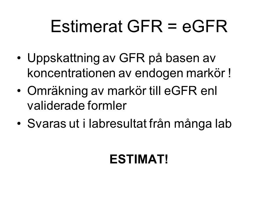 Estimerat GFR = eGFR Uppskattning av GFR på basen av koncentrationen av endogen markör ! Omräkning av markör till eGFR enl validerade formler Svaras u