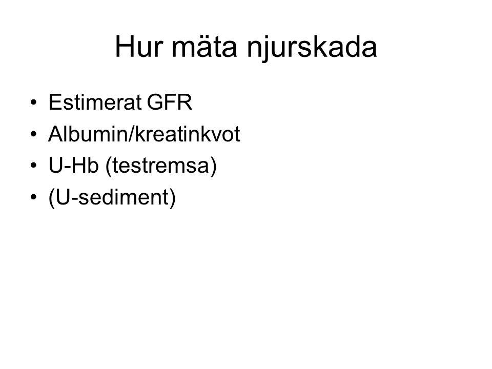 Hur mäta njurskada Estimerat GFR Albumin/kreatinkvot U-Hb (testremsa) (U-sediment)