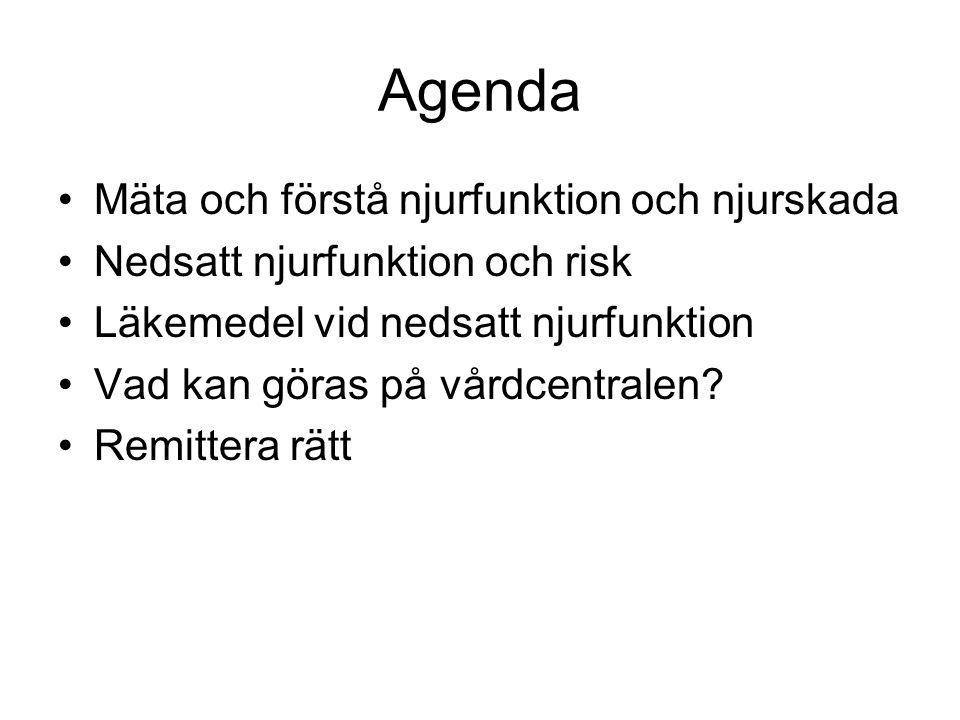 Agenda Mäta och förstå njurfunktion och njurskada Nedsatt njurfunktion och risk Läkemedel vid nedsatt njurfunktion Vad kan göras på vårdcentralen? Rem