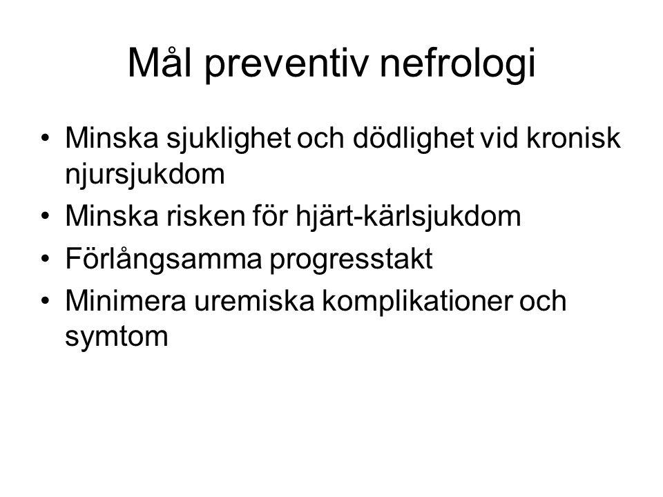 Mål preventiv nefrologi Minska sjuklighet och dödlighet vid kronisk njursjukdom Minska risken för hjärt-kärlsjukdom Förlångsamma progresstakt Minimera