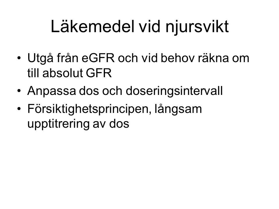 Läkemedel vid njursvikt Utgå från eGFR och vid behov räkna om till absolut GFR Anpassa dos och doseringsintervall Försiktighetsprincipen, långsam uppt