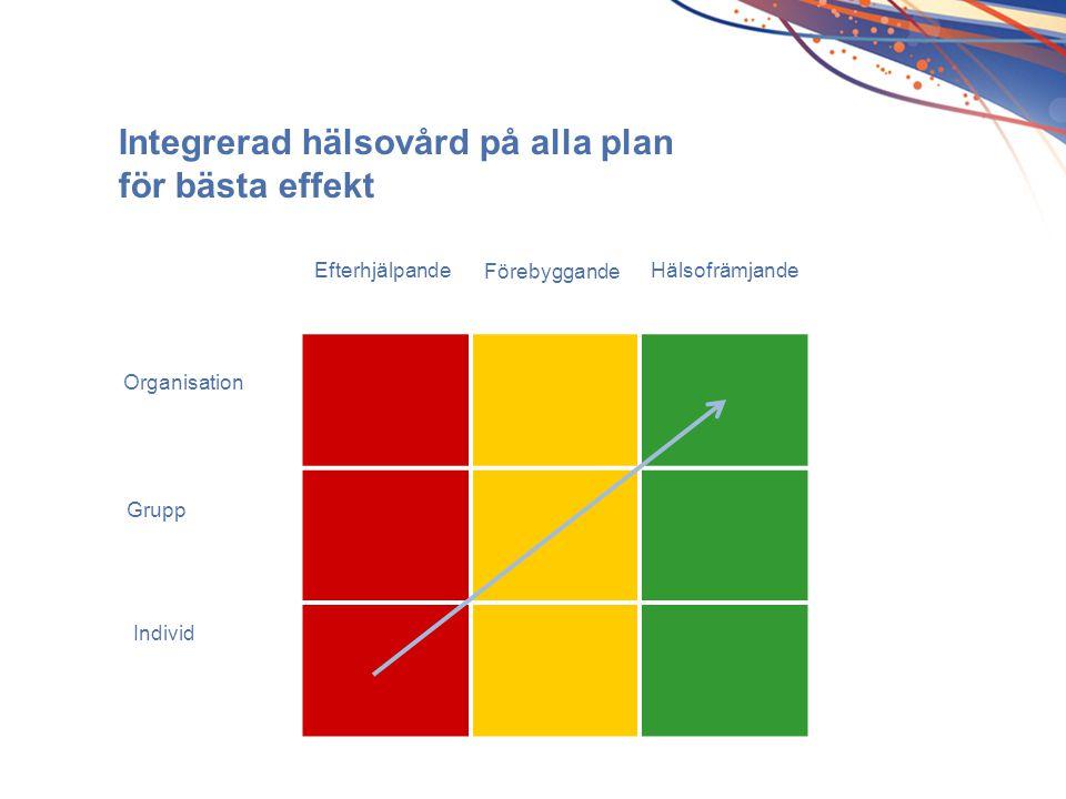 Efterhjälpande Förebyggande Hälsofrämjande Grupp Individ Organisation Integrerad hälsovård på alla plan för bästa effekt