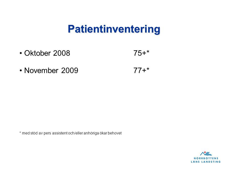 Patientinventering Oktober 200875+* November 200977+* * med stöd av pers assistent och/eller anhöriga ökar behovet