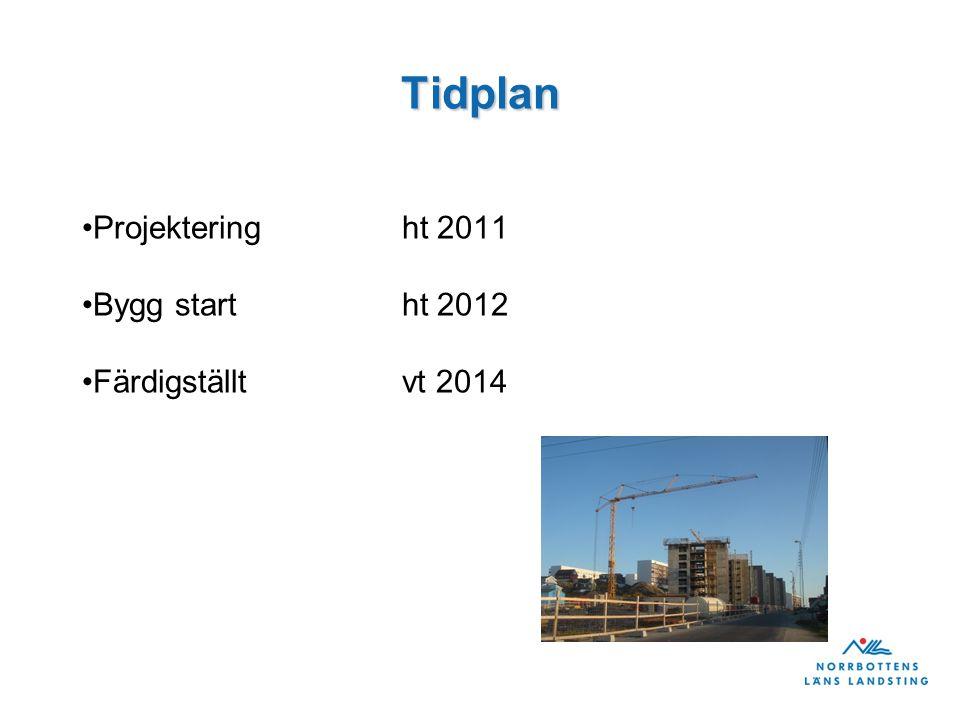 Tidplan Projekteringht 2011 Bygg startht 2012 Färdigställt vt 2014
