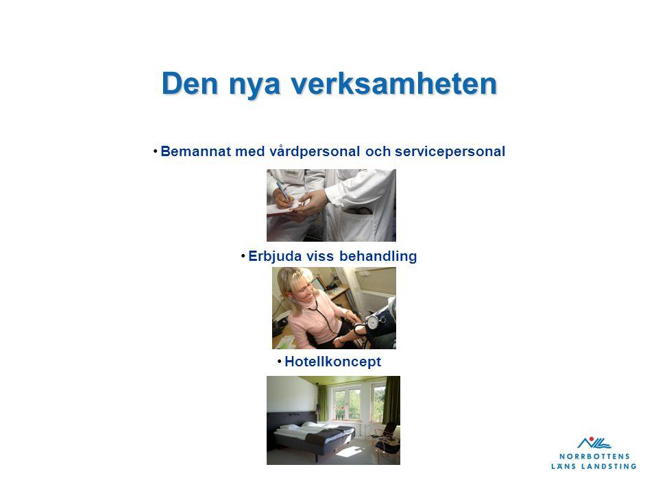 Den nya verksamheten Bemannat med vårdpersonal och servicepersonal Erbjuda viss behandling Hotellkoncept