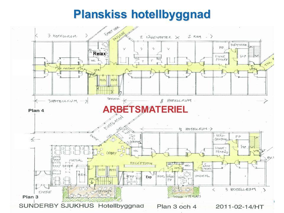 Planskiss hotellbyggnad ARBETSMATERIEL Exp Relax