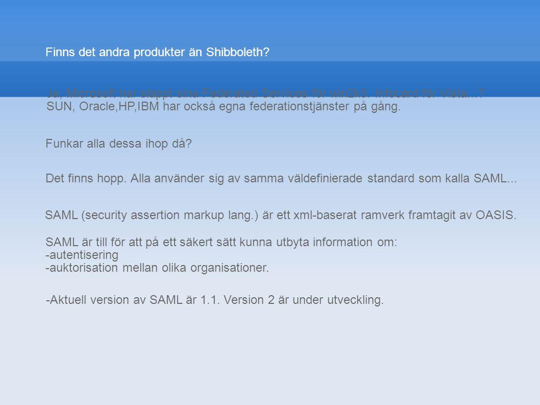 Finns det andra produkter än Shibboleth? Funkar alla dessa ihop då? Ja, Microsoft har släppt sina Federated Services för win2k3. Infocard för Vista...