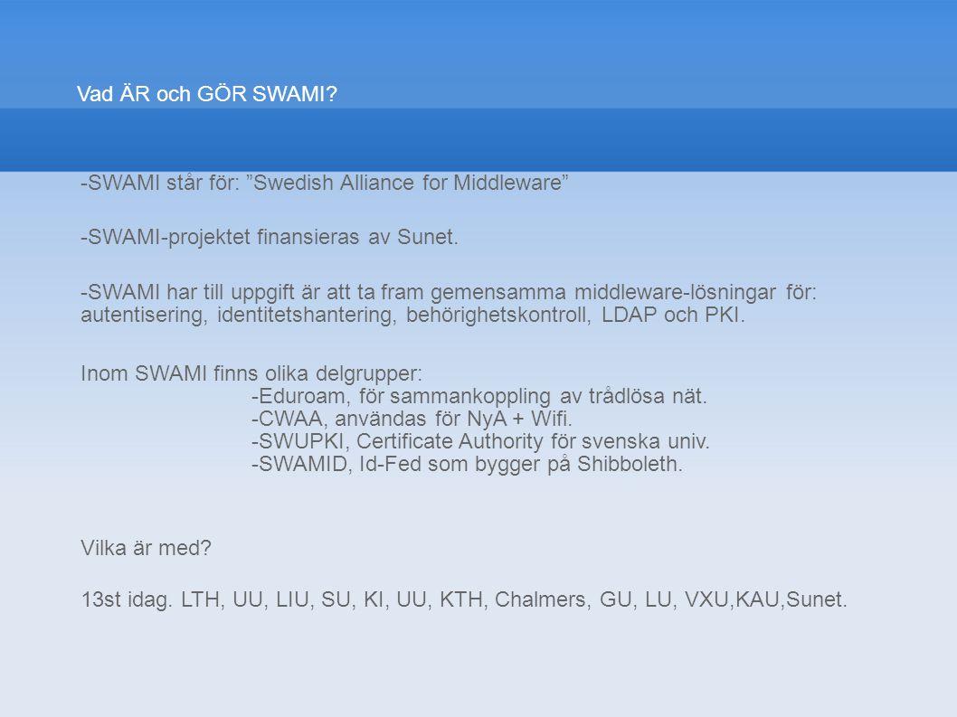 """Vad ÄR och GÖR SWAMI? -SWAMI står för: """"Swedish Alliance for Middleware"""" -SWAMI-projektet finansieras av Sunet. -SWAMI har till uppgift är att ta fram"""