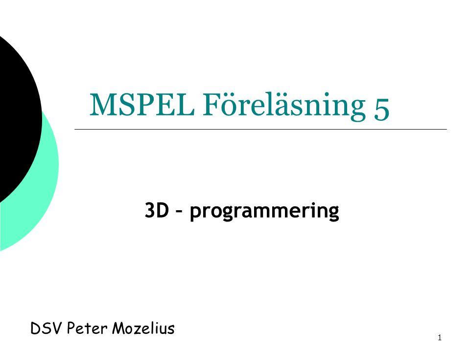 1 MSPEL Föreläsning 5 DSV Peter Mozelius 3D – programmering