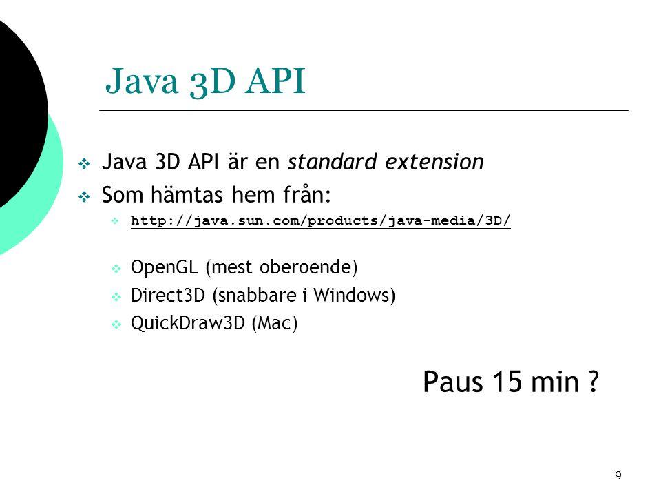 10 Java 3D API  De två grundläggande paketen är:  javax.vecmath  med stöd för vektorbaserad matematik  com.sun.j3d.utils  med över hundra klasser för:  3D-primitiver som kuber och sfärer  Grundläggande 3D-operationer