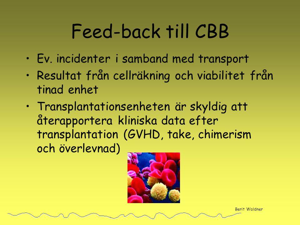 Feed-back till CBB Ev. incidenter i samband med transport Resultat från cellräkning och viabilitet från tinad enhet Transplantationsenheten är skyldig