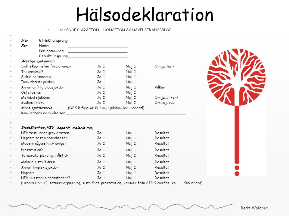 Hälsodeklaration HÄLSODEKLARATION - DONATION AV NAVELSTRÄNGSBLOD MorEtniskt ursprung:__________________________ FarNamn: __________________________ Pe