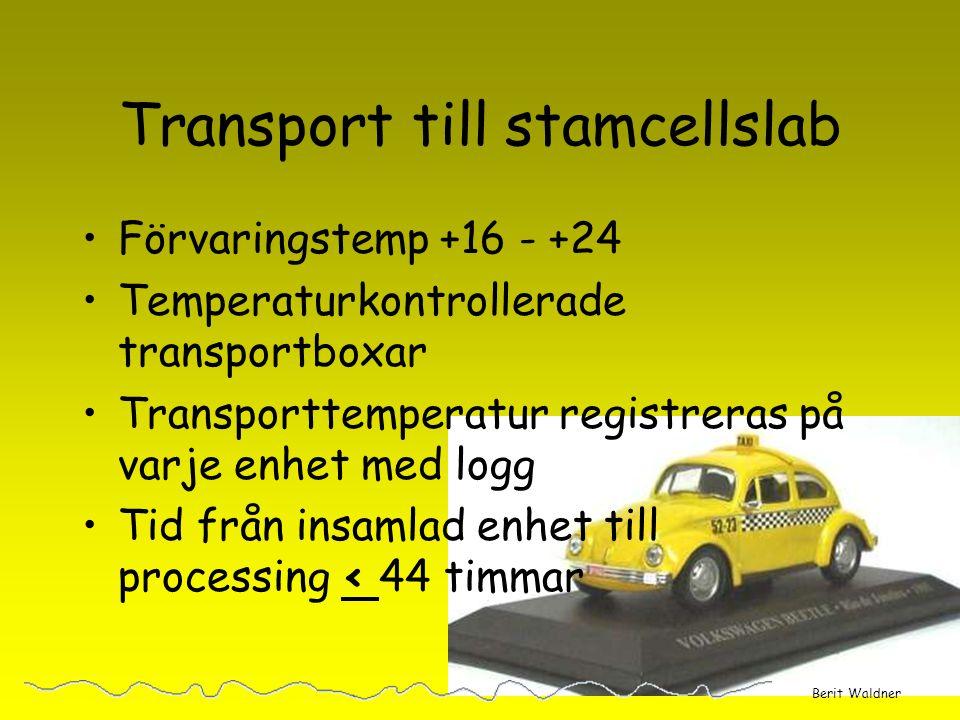 Mottagande på stamcellslab Godkända enheter vidare till processing Tid från insamling Godkänd transporttemp signaturer hälsodeklaration samtycke TNC >9x10 8 tot Berit Waldner