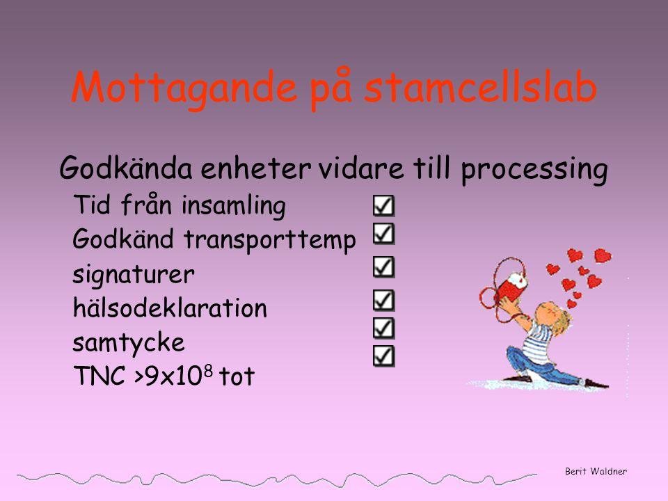 Mottagande på stamcellslab Godkända enheter vidare till processing Tid från insamling Godkänd transporttemp signaturer hälsodeklaration samtycke TNC >