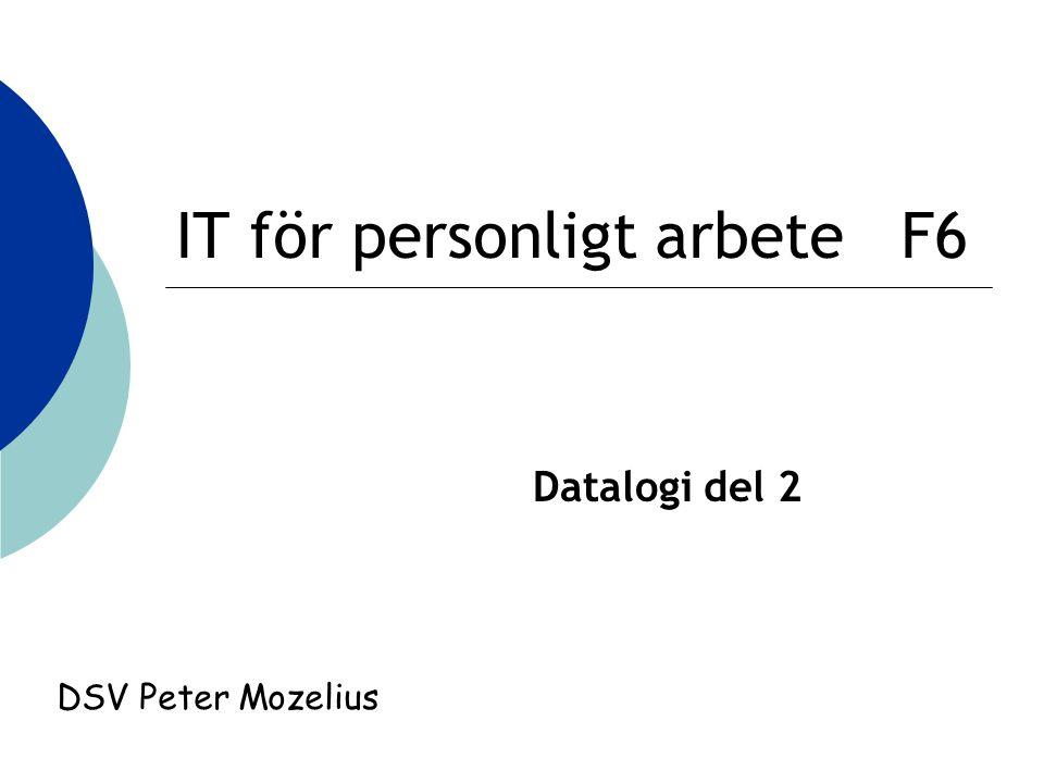 IT för personligt arbete F6 Datalogi del 2 DSV Peter Mozelius