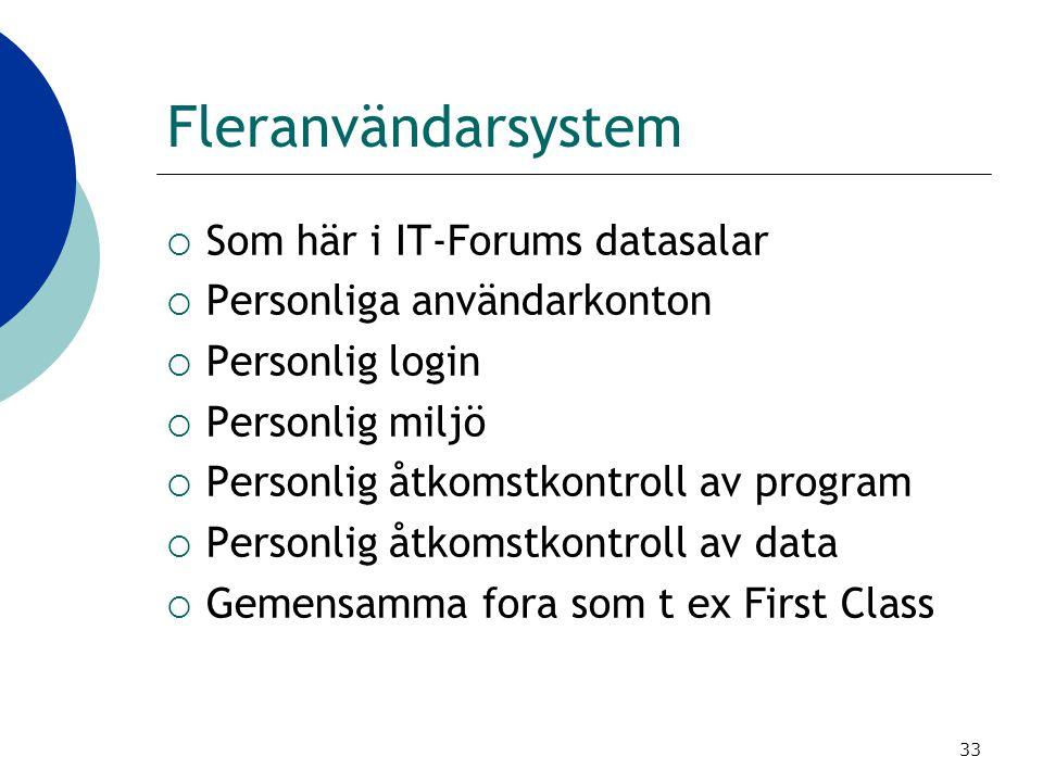 33 Fleranvändarsystem  Som här i IT-Forums datasalar  Personliga användarkonton  Personlig login  Personlig miljö  Personlig åtkomstkontroll av p