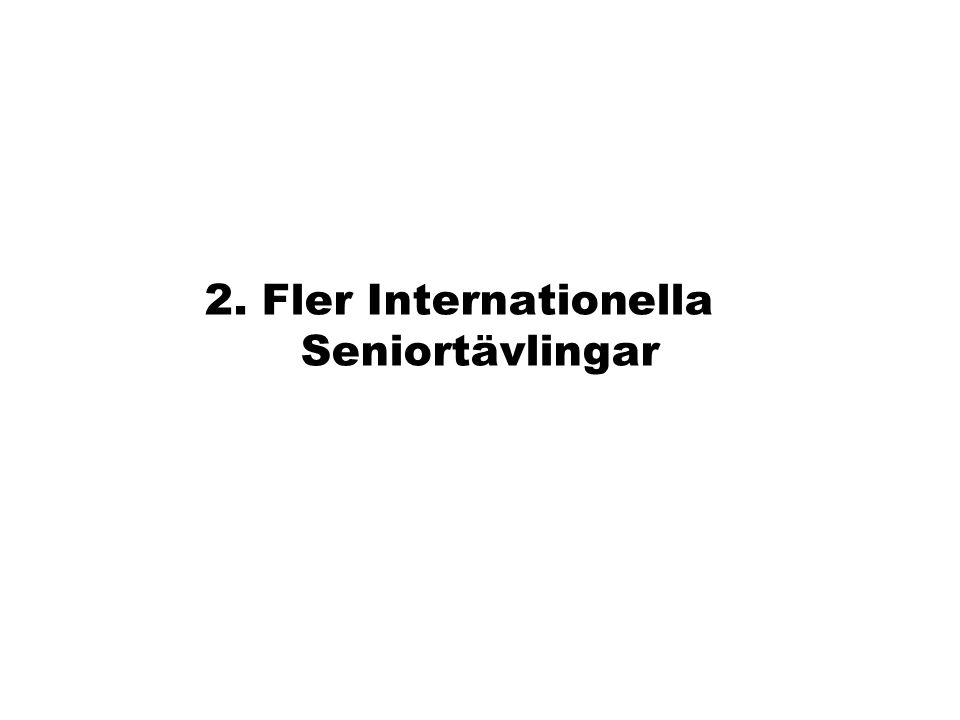 2. Fler Internationella Seniortävlingar
