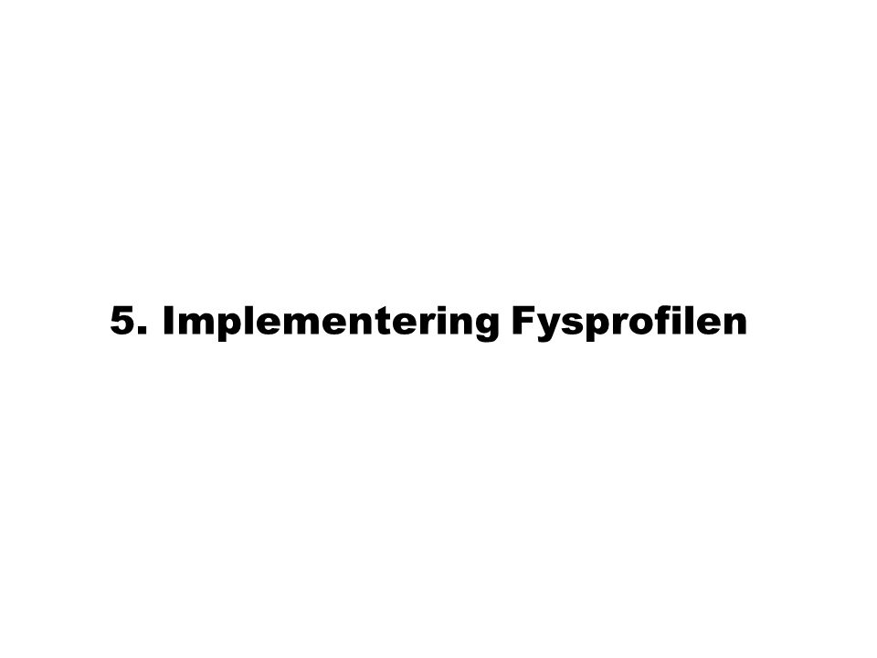 5. Implementering Fysprofilen