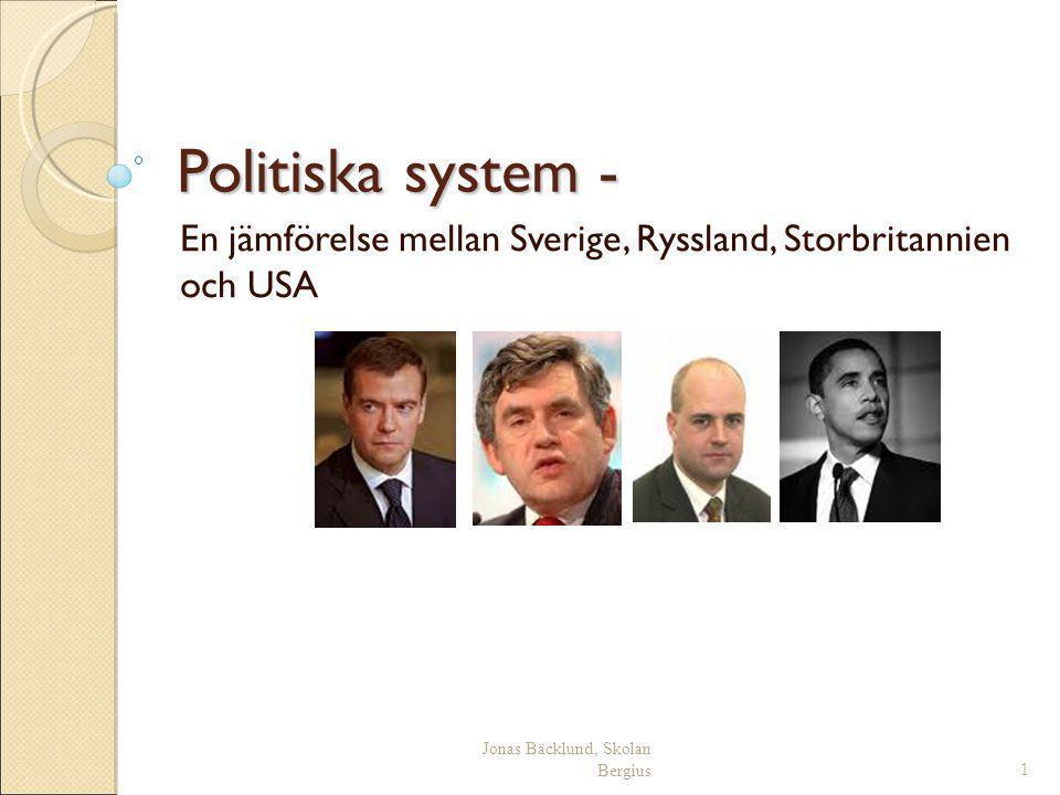 Jonas Bäcklund, Skolan Bergius32 Ryssland Presidentval hålls vart fjärde år (2004, 2008, 2012)  Flerpartisystem Presidenten väljs genom direktval Makten delas mellan presidenten och premiärministern.