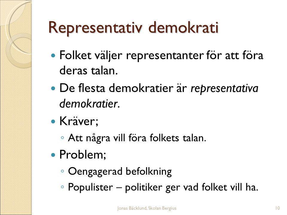 Jonas Bäcklund, Skolan Bergius10 Representativ demokrati Folket väljer representanter för att föra deras talan.