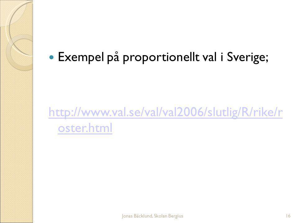 Jonas Bäcklund, Skolan Bergius16 Exempel på proportionellt val i Sverige; http://www.val.se/val/val2006/slutlig/R/rike/r oster.html