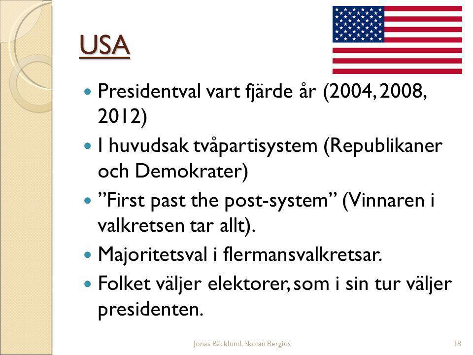 Jonas Bäcklund, Skolan Bergius18 USA Presidentval vart fjärde år (2004, 2008, 2012)  I huvudsak tvåpartisystem (Republikaner och Demokrater)  First past the post-system (Vinnaren i valkretsen tar allt).