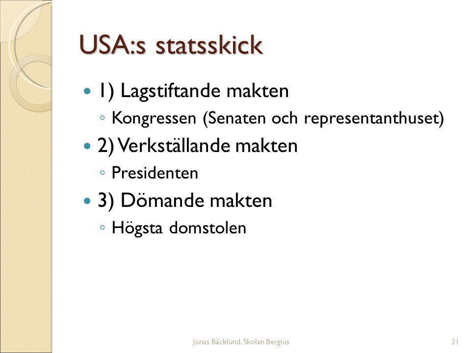 Jonas Bäcklund, Skolan Bergius21 USA:s statsskick 1) Lagstiftande makten ◦ Kongressen (Senaten och representanthuset)  2) Verkställande makten ◦ Presidenten 3) Dömande makten ◦ Högsta domstolen