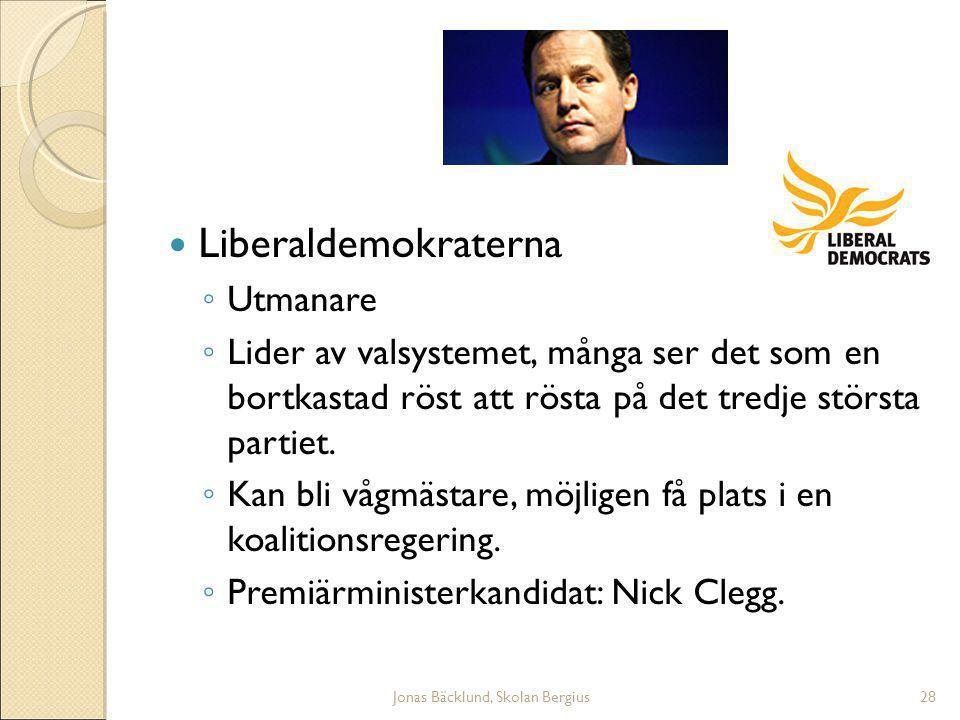Jonas Bäcklund, Skolan Bergius28 Liberaldemokraterna ◦ Utmanare ◦ Lider av valsystemet, många ser det som en bortkastad röst att rösta på det tredje största partiet.
